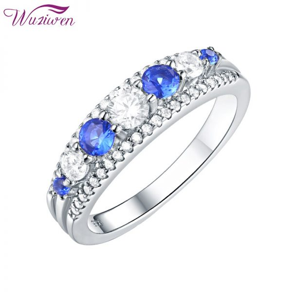 Buy Wuziwen 925 Sterling Silver Promise Ring For Women Blue And White Zircon Wedding Jewelry Eternity Band