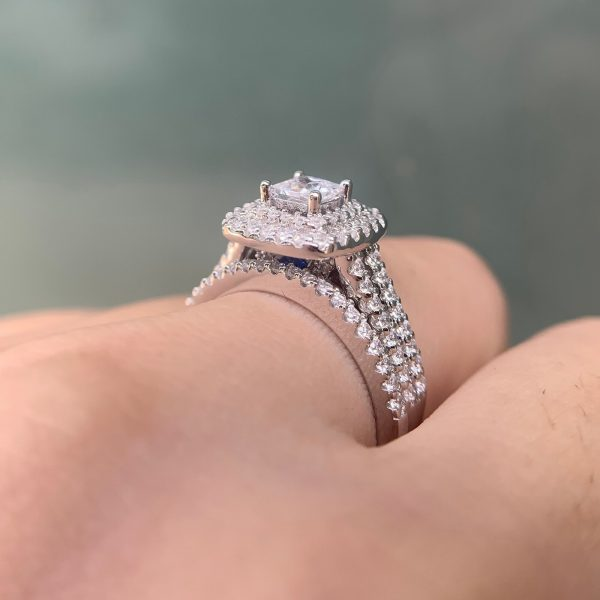 Buy Wuziwen 2 Pcs 925 Sterling Silver Wedding Rings For Women 1.5Ct Princess Cut White Zircon Engagement Ring Set Classic Jewelry