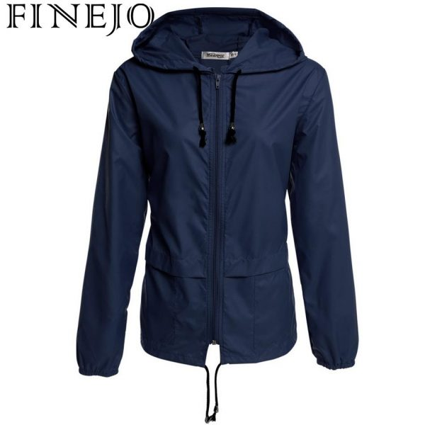 Buy FINEJO thin trench coat for Women Windbreaker Hooded 2017 autumn winter Lightweight Waterproof Sun protection casual Rain coat