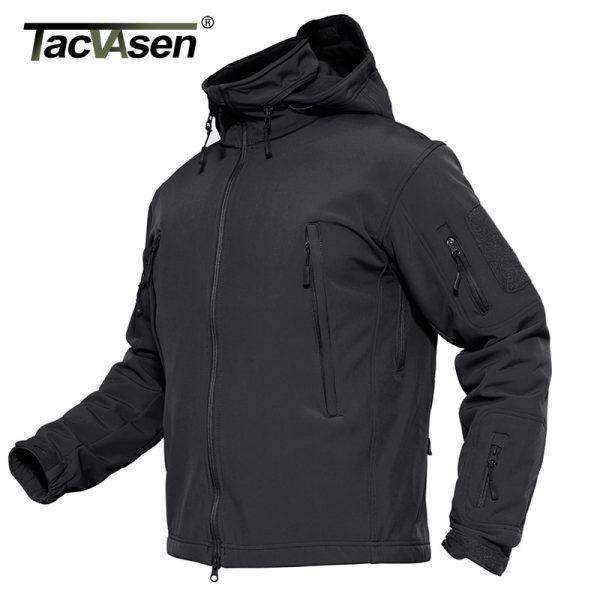 Buy TACVASEN Men Military Jacket Coat Waterproof Army Airsoft Tactical Jacket Winter Softshell Hunt Hike Jacket Detachable Hood 4XL