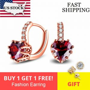 Buy US STOCK Uloveido Korean Wedding Earrings for Women Earings with Red Heart Stones Rose Gold Color Stud Earring HE515