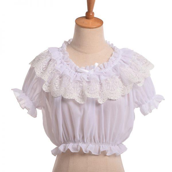 Buy Women Crop Top Blouse Lolita Frilly Chiffon White/Black Puff Sleeve Lace Bottoming Undershirt