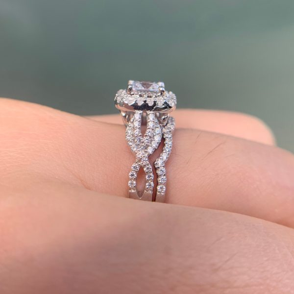 Buy Newshe 2 Pcs 925 Sterling Silver Engagement Ring Wedding Band For Women Princess Cut White AAA Cubic Zirconia Classic Jewelry