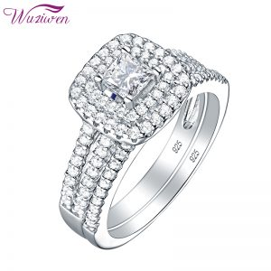 Buy Wuziwen 2 Pcs 925 Sterling Silver Wedding Rings For Women 1.5Ct Princess Cut White Zircon Engagement Ring Set Classic Jewelry