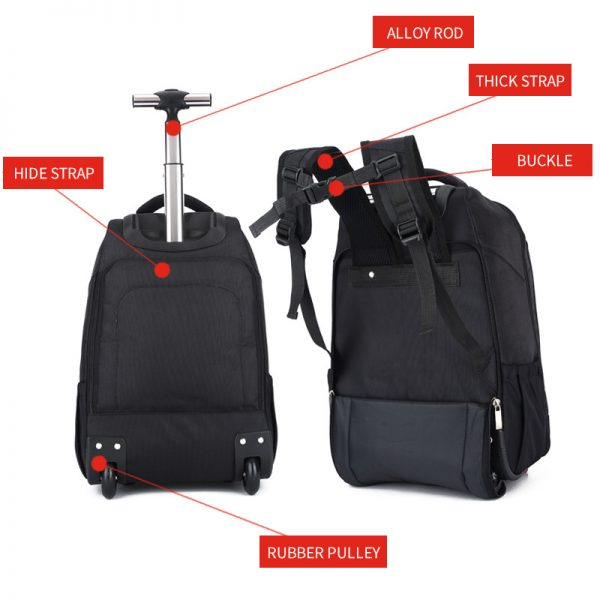 Buy BAIJIAWEI Men's Trolley Backpack Business Travel Bag Large Capacity Waterproof Duffle Bag Laptop Luggage Backpacks (Black)