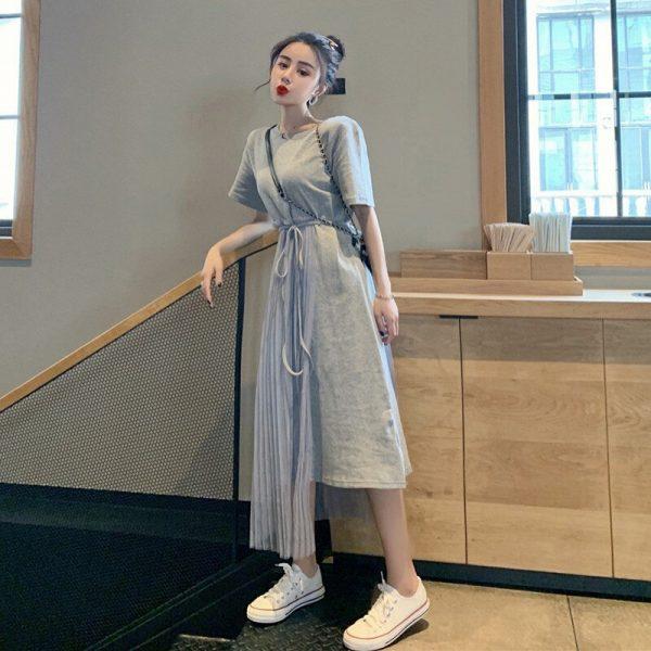Buy Women O-Neck Short Sleeve Mesh Stitching A-Line Loose Dress New