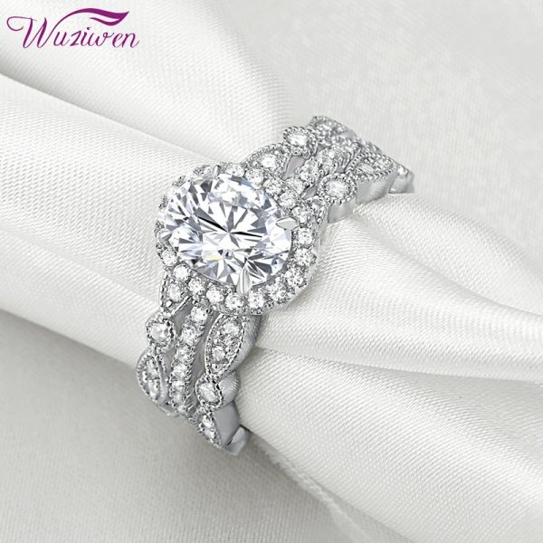 Buy Wuziwen 925 Sterling Silver Wedding Rings For Women Oval Shape Engagement Ring Art Deco Band Bridal Set Classic Jewelry