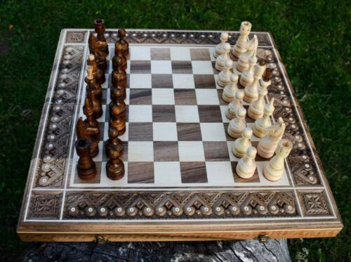 Buy Handmade set 3 in 1 Chess Checkers  backgammon  Wooden collectible Set