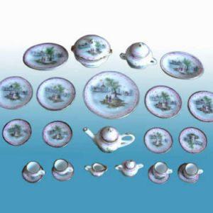 Buy Hansson dollhouse Miniature - Tea Set for 4 with hand painted landscape 05010