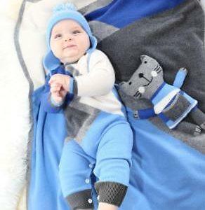 Buy Cashmere color block blanket for babies & children in Blue