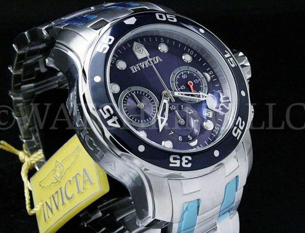 Buy Invicta Men 48 MM Pro Diver Scuba Blue Dial Chronograph  S.S Bracelet Watch NEW