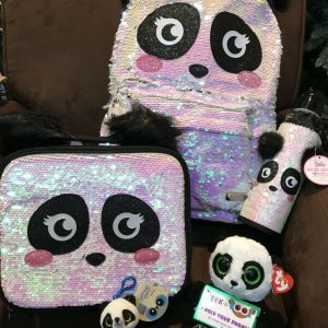 Buy JUSTICE PANDA IRIDESCENT FLIP SEQUINS BACKPACK/LUNCHBOX/WATERBOTTLE/BAG CHARM ++