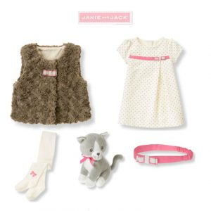 """Buy Janie and Jack baby girl """"All in Bow""""Dress/Sherpa Vest/Tights/ 5 pc Set 12-18m"""