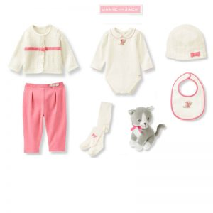"""Buy Janie and Jack baby girl """"All in Bow""""Overall/Sweater/Hat/Tight/ 7 pc Set 6-12m"""
