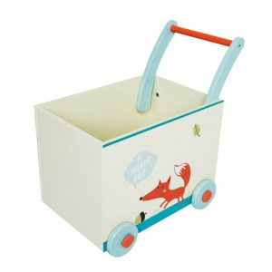 Buy Labebe Baby Walker with Wheel, White Fox Printed Wooden Push Toy, 2-in-1 Wooden