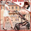 Buy Luxury 3 In 1 Baby Stroller Pushchair W/ Infant Basket Car Seat Foldable Buggy