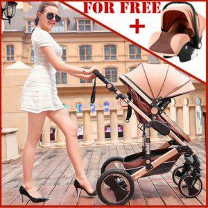 Buy Luxury 3 In 1 Baby Stroller Pushchair W/ Infant Basket Car Seat Foldable Buggy