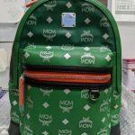 Buy MCM Stark Estate Green Leather Printed Visetos Logo Backpack Bag