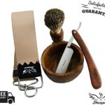 Buy MEN'S WOODEN WET CUT THROAT STRAIGHT RAZOR SHAVING SET KIT IN GIFT BOX 4 PC US