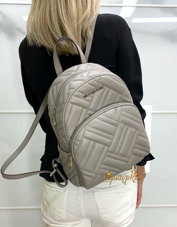 Buy MICHAEL KORS ABBEY MEDIUM BACKPACK LEATHER QUILTED PEARL GREY