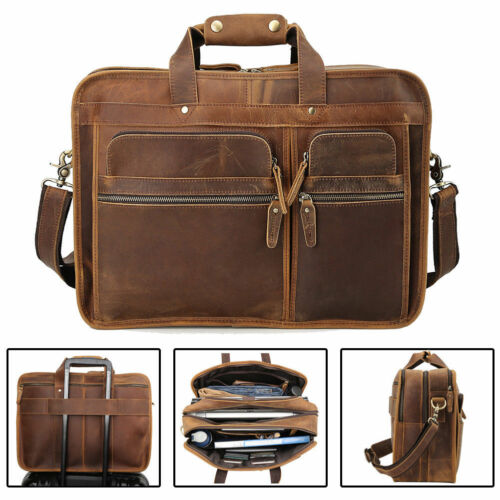 "Buy Men Vintage Leather Travel Messenger Bag For 17"" Laptop Briefcase Tote Satchel"