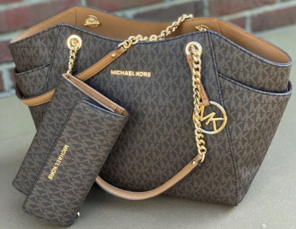 Buy Michael Kors Brown MK  Signature JS Travel Chain  Shoulder Bag Tote and  Wallet