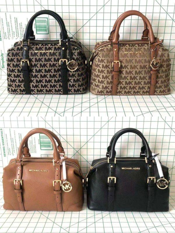 Buy Michael Kors Ginger Small Duffle Satchel Leather/Signature Canvas Crossbody Bag