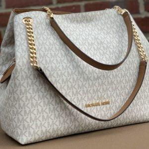 Buy Michael Kors Jet Set Chain Messenger  MK Signature Vanılla  Large  Shoulder Bag