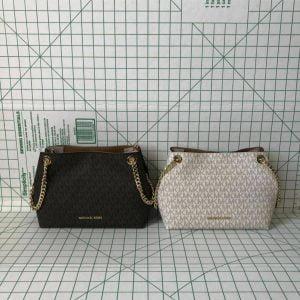 Buy Michael Kors Jet Set Item Medium Chain Messenger Shoulder Bag Signature PVC