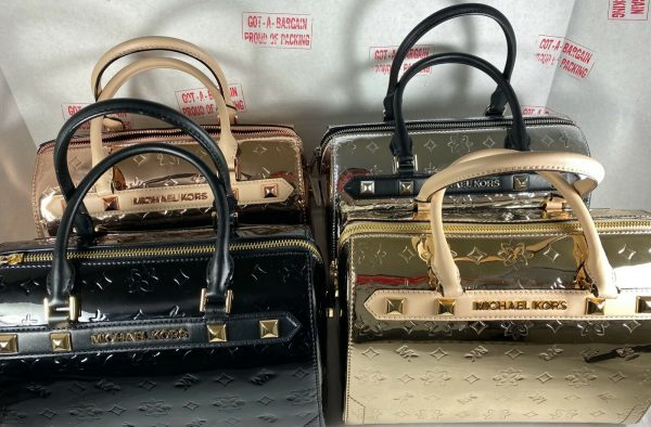 Buy Michael Kors Kara Signature Duffle Satchel Metallic Leather Large Crossbody Bag
