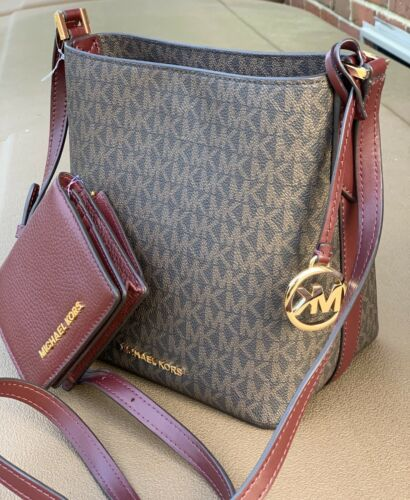 Buy Michael Kors Kimberly Merlot Brown Bucket Bag Crossbody Jet Set Card  Wallet Set