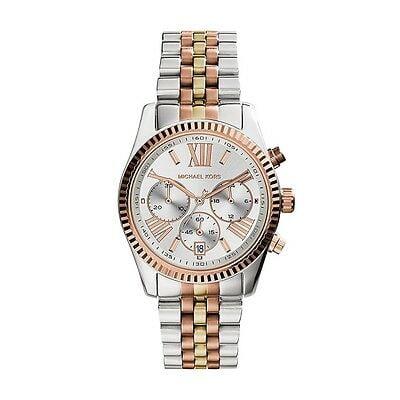 Buy Michael Kors Lexington Tri-Tone Rose Gold Silver Chronograph Womens Watch MK5735