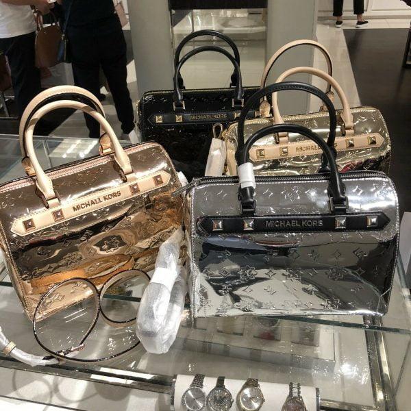Buy Michael Kors Medium Large Satchel Crossbody PVC Leather Bag Handbag Purse Black