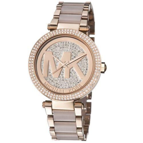 Buy Michael Kors Parker Rose Gold Blush Pave Crystal Logo Dial MK6176 Women watch
