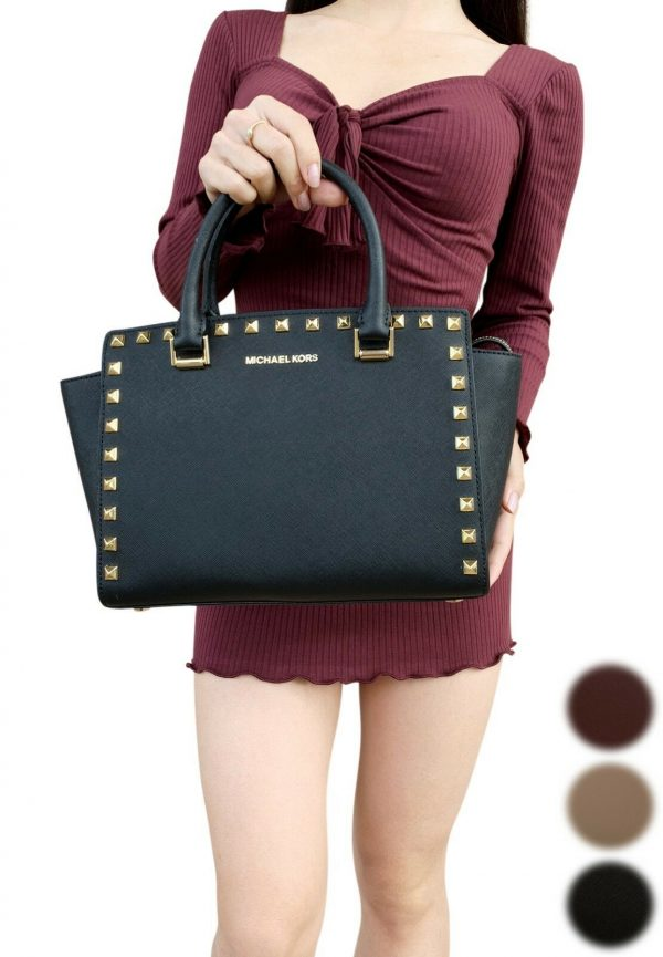 Buy Michael Kors Selma Medium Satchel Studded Saffiano Leather PVC