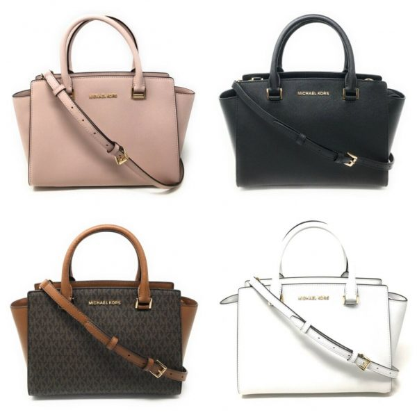 Buy Michael Kors Selma Medium Top Zip Satchel Handbag Crossbody Signature Leather