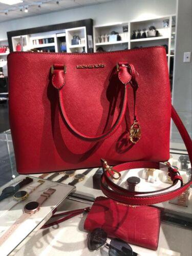 Buy Michael Kors Womens Large Leather Satchel Crossbody Handbag Bag Purse Red Gold