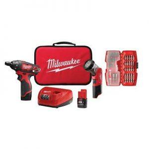 "Buy Milwaukee Screwdriver 1/4"" Hex Worklight Kit Cordless 12V (2) Batteries Bit Set"