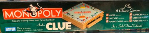 Buy Monopoly & Clue + 6 Classic Games In Solid Wood Cabinet With Box