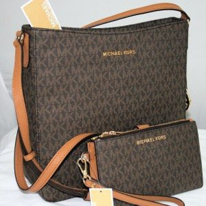 Buy NEW MICHAEL KORS MK SIGNATURE BROWN JET SET TRAVEL MESSENGER BAG WALLET SET