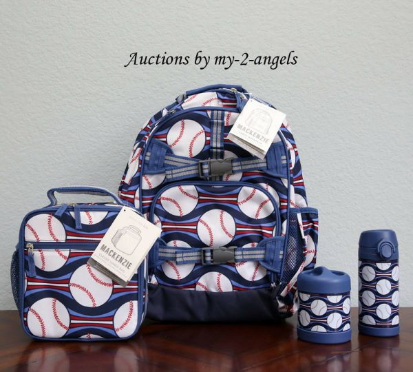 Buy NEW Pottery Barn Kids 4pc BASEBALL Large Backpack Lunch Box Water Bottle Thermos