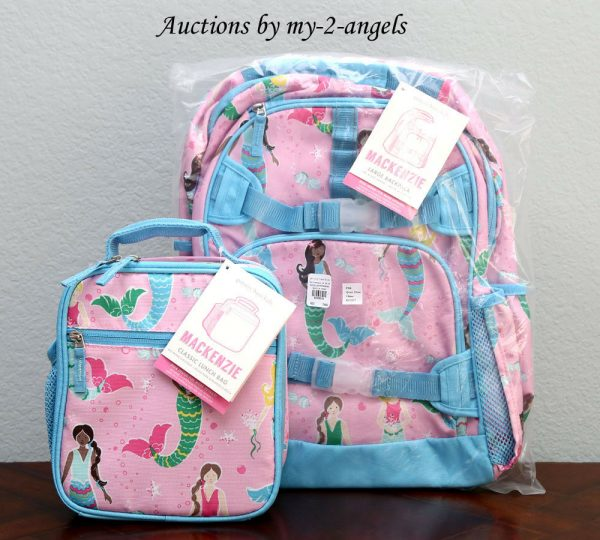 Buy NEW Pottery Barn Kids Mackenzie PINK MERMAID Large Backpack + Classic Lunch Bag