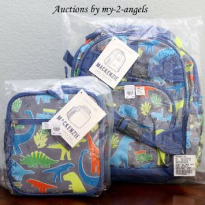 Buy NEW Pottery Barn Kids NEON MULTI DINO Dinosaur Small Backpack+Classic Lunch Bag