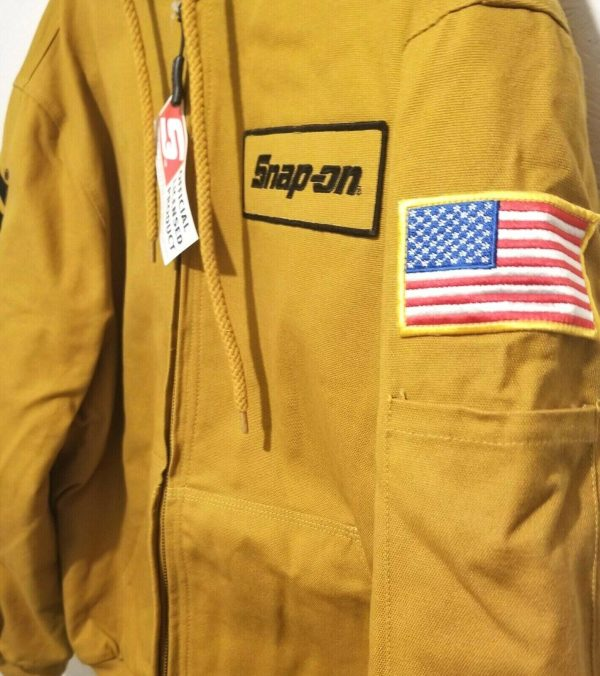 Buy NEW Snap on Tools Men's Winter Coat Jacket Hooded TAN/BROWN Embroidered