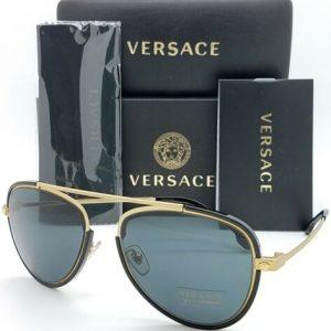 Buy NEW Versace sunglasses VE2193 142887 56 Gold/Black Grey AUTHENTIC Aviator Men's