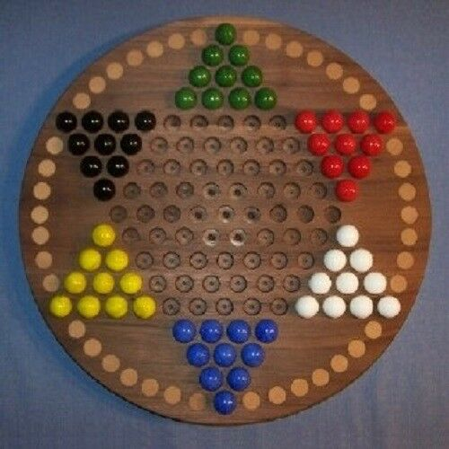 """Buy NEW Wooden Game Board Chinese Checkers 18"""" Black Walnut w/ 42 Birch Inlaid Spots"""
