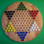 """Buy NEW Wooden Game Board Chinese Checkers Oiled 18"""" Red Oak w/ 6 Birch Inlaid Spots"""