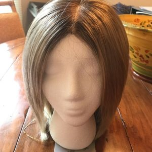Buy NEW synthetic hair wig light brown w/ highlights, medium length, straight hair