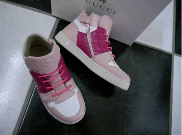 Buy NIB 100% AUTH Gucci Kids Leather High Top Sneakers 340872
