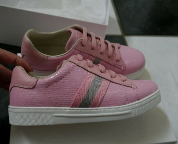 Buy NIB 100% Auth Gucci Kids Pink Imprime Lace-up Sneaker with web detail 271333